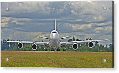 Acrylic Print featuring the photograph Boeing 747-800 by Jeff Cook