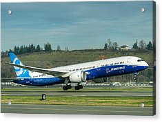Acrylic Print featuring the photograph Boeing 787-9 Gets Airborne by Jeff Cook
