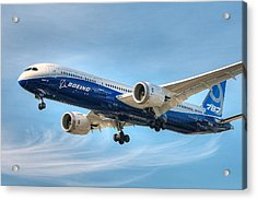 Acrylic Print featuring the photograph Boeing 787-9 Wispy by Jeff Cook