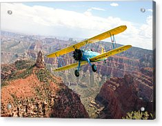 Boeing Stearman At Mount Hayden Grand Canyon Acrylic Print by Gary Eason