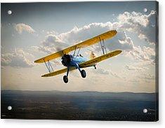 Boeing Stearman Trainer In Flight  Acrylic Print by Gary Eason