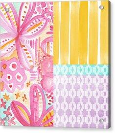 Boho Aztec Patchwork- Flower Painting Acrylic Print by Linda Woods