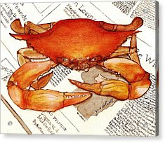 Acrylic Print featuring the painting Boiled Crab by June Holwell