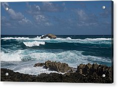 Boiling The Ocean At Laie Point - North Shore - Oahu - Hawaii Acrylic Print by Georgia Mizuleva