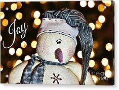 Bokeh Snowman Card Acrylic Print