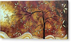 Bold Neutral Tones Abstract Landscape Art Oversized Original Painting The Wishing Tree By Madart Acrylic Print by Megan Duncanson