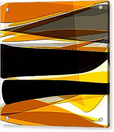 Bold- Yellow Orange Black And Gray Art Acrylic Print by Lourry Legarde