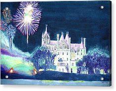 Boldt Castle Fireworks Acrylic Print by Robert P Hedden
