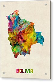 Bolivia Watercolor Map Acrylic Print by Michael Tompsett