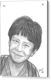 Acrylic Print featuring the drawing Bolivian Jungle Child by Lew Davis