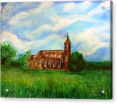 Acrylic Print featuring the painting Bomarton Church by The GYPSY And DEBBIE