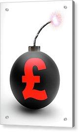 Bomb With British Pound Symbol Acrylic Print by Victor De Schwanberg