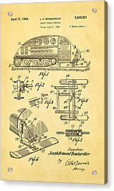 Bombardier Chain Tread Vehicle Patent Art 1944 Acrylic Print by Ian Monk