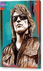 Bon Jovi Long Stylised Drawing Art Poster Acrylic Print by Kim Wang