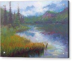 Bonnie Lake - Alaska Misty Landscape Acrylic Print