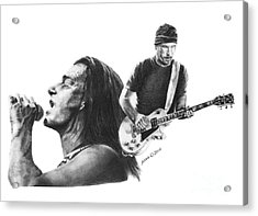 Acrylic Print featuring the drawing Bono And The Edge by Marianne NANA Betts