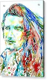 Bono Watercolor Portrait.2 Acrylic Print by Fabrizio Cassetta