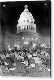 Bonus Army Sleeps At Capitol Acrylic Print by Underwood Archives