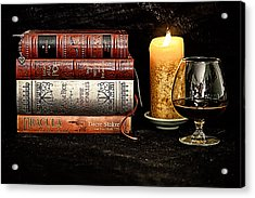 Books And Brandy Acrylic Print by Jacque The Muse Photography