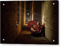 Book And Monk Acrylic Print