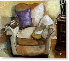 Acrylic Print featuring the painting Book Club For One by Pattie Wall