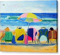 Book Club On The Beach Acrylic Print by Shelia Kempf