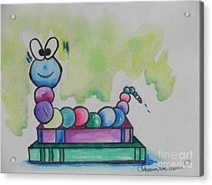 Book Worm Helps Children Read Acrylic Print by Chrisann Ellis