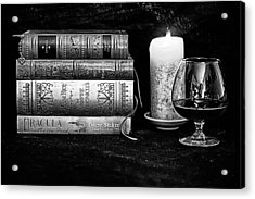 Books And Brandy Black And White Acrylic Print by Jacque The Muse Photography