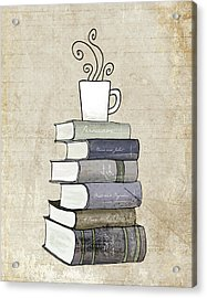 Books And Coffee Print Acrylic Print by Amy Cummings