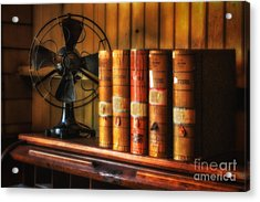 Books And Fan Acrylic Print by Jerry Fornarotto