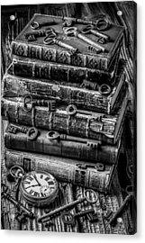 Books And Keys Black And White Acrylic Print by Garry Gay