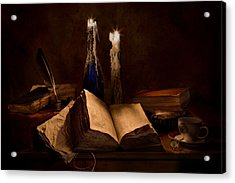 Books Candles And Coffee Cup Acrylic Print by Mary Tomaino