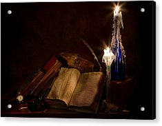 Books Candles And Proverbs Acrylic Print by Mary Tomaino
