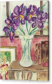 Acrylic Print featuring the painting Books Flowers And Matisse by Elaine Elliott