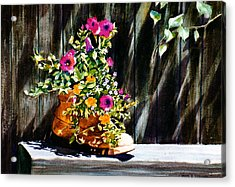 Boot Bouquet Acrylic Print by Karol Wyckoff