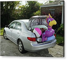 Boot Of Car Packed With Inflatable Toy, Balls And Stereo Acrylic Print by Baerbel Schmidt