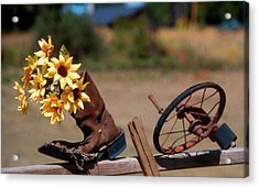 Acrylic Print featuring the photograph Boot With Flowers by Ron Roberts