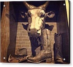 Boots And Bulls Acrylic Print