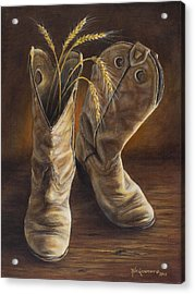 Boots And Wheat Acrylic Print