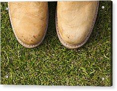 Boots On Grass Acrylic Print