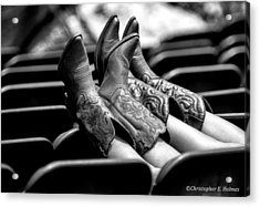 Boots Up - Bw Acrylic Print by Christopher Holmes