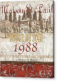Bordeaux Blanc Label 1 Acrylic Print by Debbie DeWitt