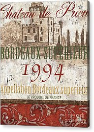 Bordeaux Blanc Label 2 Acrylic Print by Debbie DeWitt