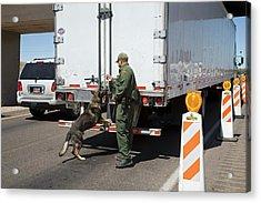 Border Patrol Checkpoint Acrylic Print by Jim West