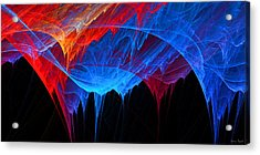 Borealis - Blue And Red Abstract Acrylic Print