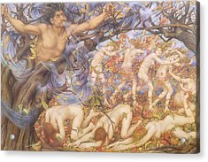 Boreas And Fallen Leaves Acrylic Print by Evelyn De Morgan