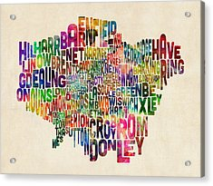 Boroughs Of London Typography Text Map Acrylic Print by Michael Tompsett