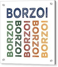 Borzoi Cute Colorful Acrylic Print