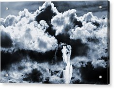 Borzoi Wolf Hound Emerging Through Mist And Clouds Acrylic Print by Christian Lagereek