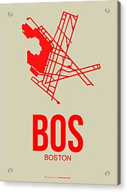 Bos Boston Airport Poster 1 Acrylic Print by Naxart Studio